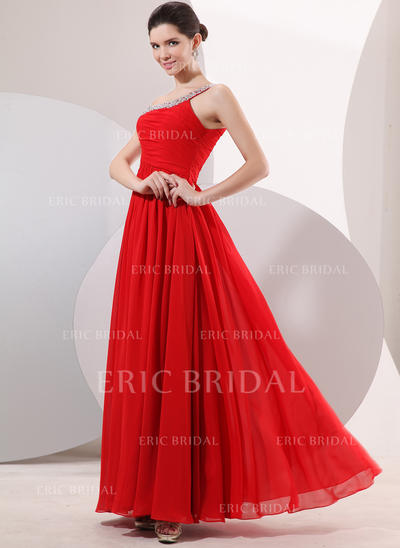 A-Line/Princess One-Shoulder Floor-Length Evening Dresses With Ruffle Beading (017014052)