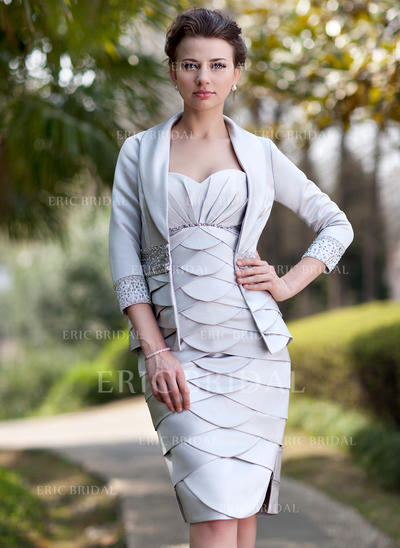 Sheath/Column Sweetheart Knee-Length Mother of the Bride Dresses With Ruffle Beading Split Front (008211215)