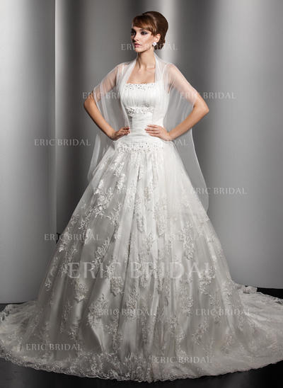 Ball-Gown Square Chapel Train Wedding Dresses With Ruffle Beading (002000180)
