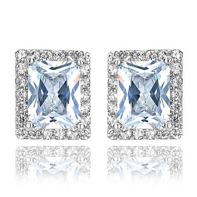 Earrings Zircon/Platinum Plated Pierced Ladies' Classic Wedding & Party Jewelry (011166734)