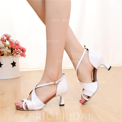 Women's Latin Heels Sandals Leatherette With Buckle Hollow-out Dance Shoes (053181523)