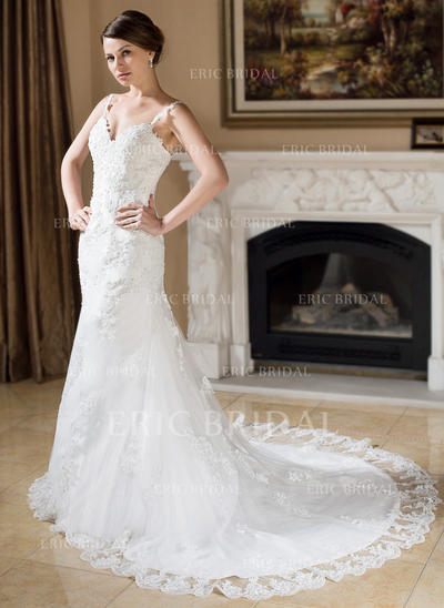 Trumpet/Mermaid Sweetheart Chapel Train Wedding Dresses With Beading Appliques (002000379)