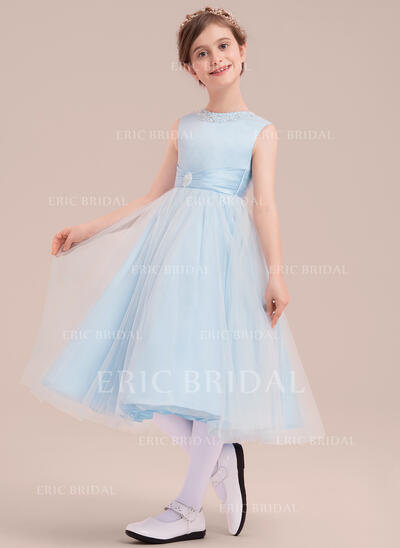 A-Line/Princess Tea-length Flower Girl Dress - Satin/Tulle Sleeveless Scoop Neck With Beading (010143261)