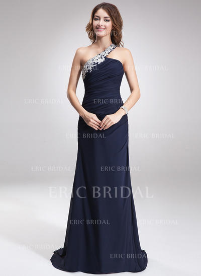 A-Line/Princess One-Shoulder Sweep Train Evening Dresses With Beading Appliques Lace (017016875)