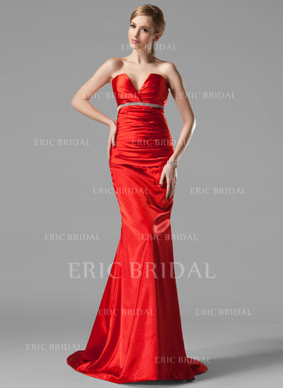Trumpet/Mermaid V-neck Sweep Train Evening Dresses With Ruffle Beading (017002534)