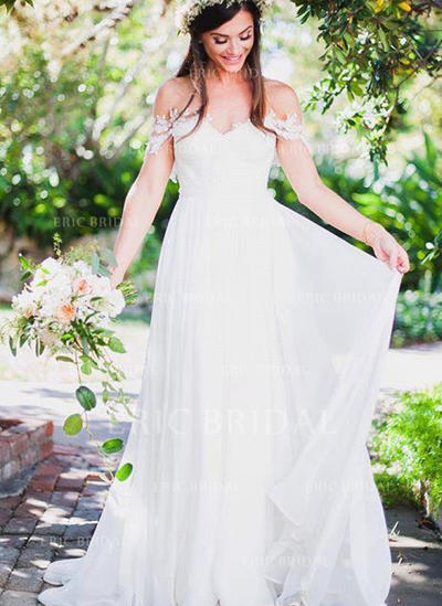 A-Line/Princess Chiffon Sleeveless Off-The-Shoulder Sweep Train Wedding Dresses (002146964)