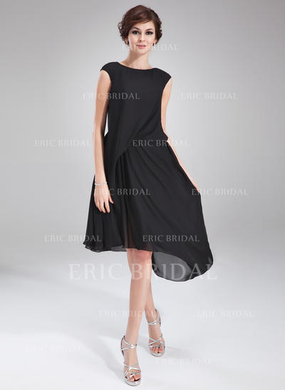 A-Line/Princess Scoop Neck Asymmetrical Chiffon Cocktail Dresses With Ruffle Beading (016021163)