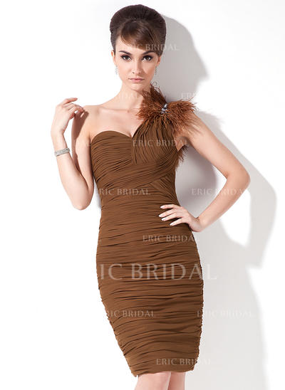 Sheath/Column One-Shoulder Knee-Length Chiffon Cocktail Dresses With Ruffle Beading Feather (016008492)