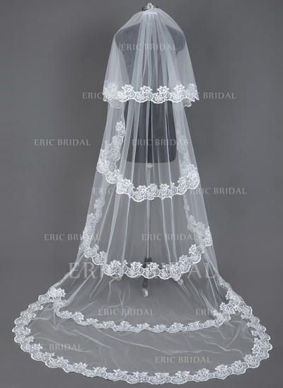 Chapel Bridal Veils Tulle Two-tier Drop Veil With Lace Applique Edge Wedding Veils (006151405)
