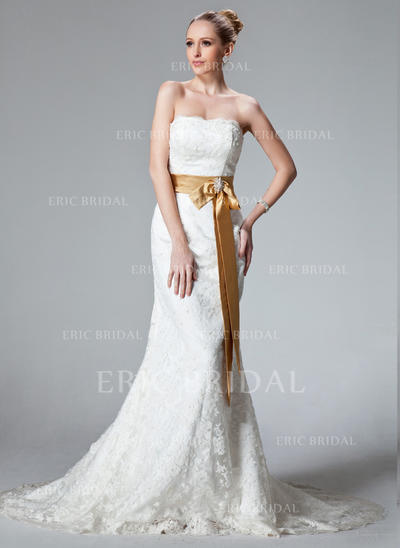 Trumpet/Mermaid Sweetheart Court Train Wedding Dresses With Sash Beading Bow(s) (002000431)