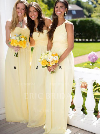 A-Line/Princess Sweetheart One-Shoulder Floor-Length Bridesmaid Dresses With Ruffle (007145028)