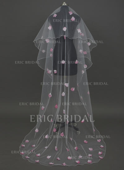 Chapel Bridal Veils Tulle One-tier Drop Veil With Pencil Edge Wedding Veils (006151261)