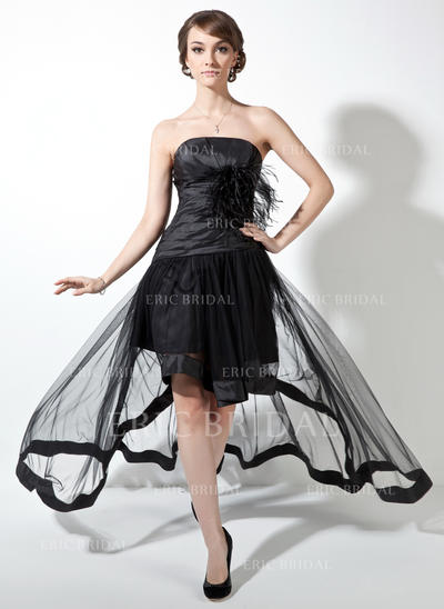 A-Line/Princess Taffeta Tulle Prom Dresses Ruffle Feather Strapless Sleeveless Asymmetrical (018021078)