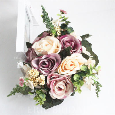 Bridal Bouquets/Bridesmaid Bouquets Hand-tied Wedding/Party Satin With Ribbon Wedding Flowers (123189876)