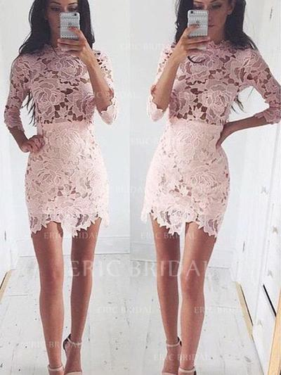 Sheath/Column Scoop Neck Short/Mini Lace Cocktail Dresses (016145278)