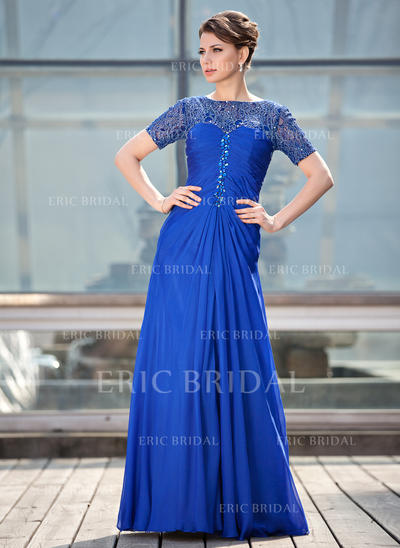 A-Line/Princess Chiffon Lace Short Sleeves Scoop Neck Floor-Length Zipper Up Mother of the Bride Dresses (008211448)