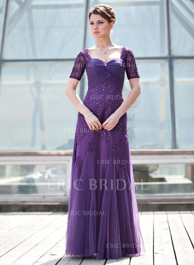 A-Line/Princess Sweetheart Floor-Length Mother of the Bride Dresses With Ruffle Beading Sequins (008211447)