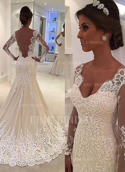 Trumpet/Mermaid Tulle Lace Long Sleeves V-neck Court Train Wedding Dresses (002144900)