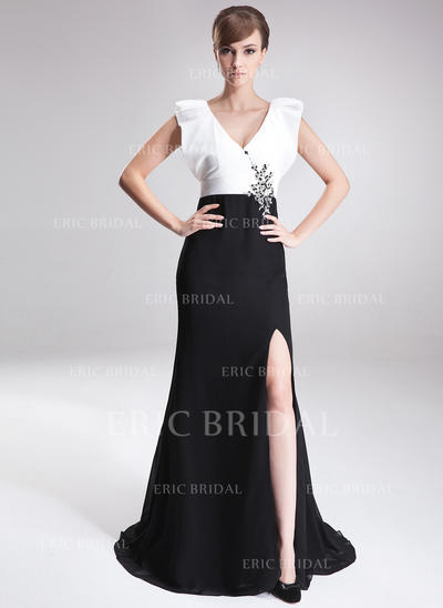 A-Line/Princess V-neck Sweep Train Mother of the Bride Dresses With Beading Sequins Split Front (008006187)