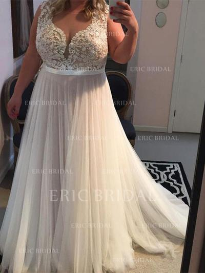 A-Line/Princess Scoop Neck Sweep Train Prom Dresses With Appliques Lace (018211011)