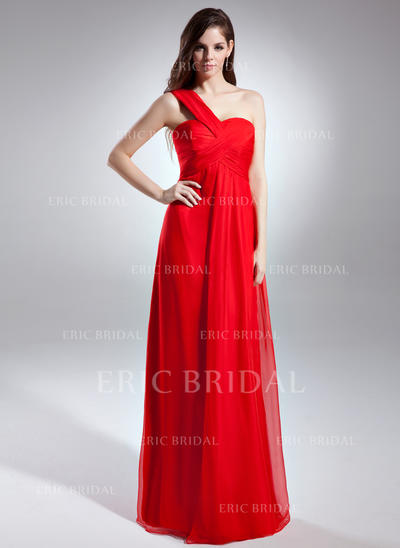 Empire One-Shoulder Floor-Length Evening Dresses With Ruffle (017015600)
