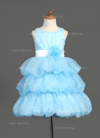 A-Line/Princess Scoop Neck Knee-length With Sash/Flower(s) Organza/Satin Flower Girl Dresses (010007781)