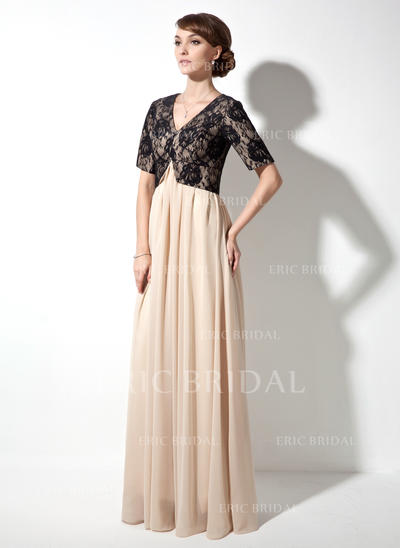 A-Line/Princess Chiffon Lace Short Sleeves V-neck Floor-Length Zipper Up Mother of the Bride Dresses (008211436)