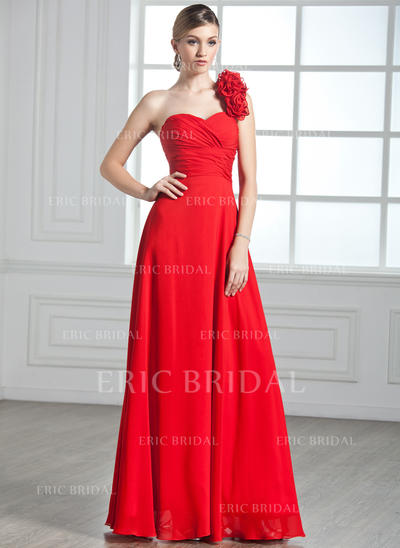 A-Line/Princess One-Shoulder Floor-Length Evening Dresses With Ruffle Flower(s) (017002599)