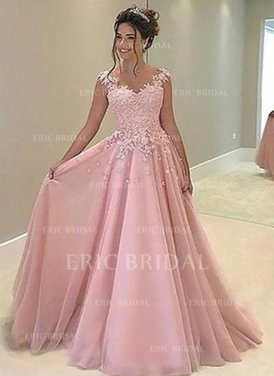 A-Line/Princess Sweetheart Floor-Length Prom Dresses With Appliques Lace (018210922)