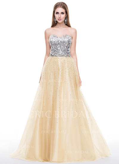 A-Line/Princess Sweetheart Sweep Train Prom Dresses With Beading (018058780)