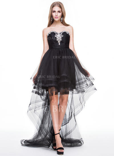 A-Line/Princess Sweetheart Asymmetrical Prom Dresses With Ruffle Beading Sequins (018056776)