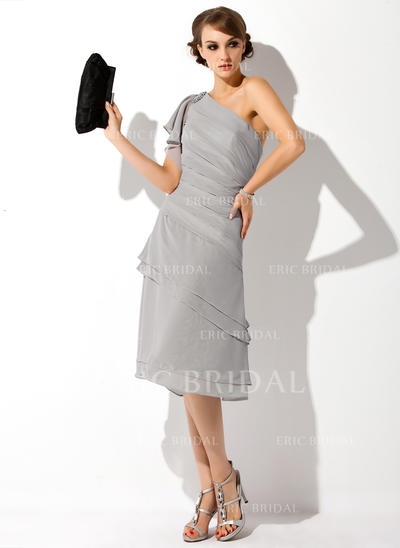 A-Line/Princess Chiffon Short Sleeves One-Shoulder Knee-Length Zipper Up Mother of the Bride Dresses (008006282)