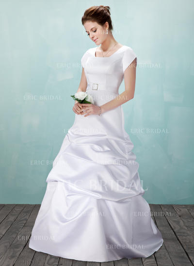 A-Line/Princess Satin Short Sleeves Square Floor-Length Wedding Dresses (002001633)