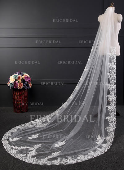 Cathedral Bridal Veils Tulle/Lace One-tier Oval With Lace Applique Edge Wedding Veils (006152327)