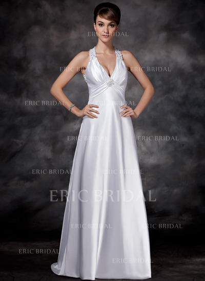 Sheath/Column Charmeuse Sleeveless Halter Sweep Train Wedding Dresses (002001609)