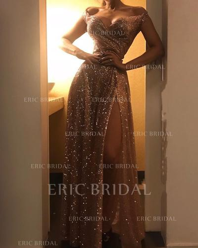 A-Line/Princess Off-the-Shoulder Floor-Length Prom Dresses With Ruffle Split Front (018219370)