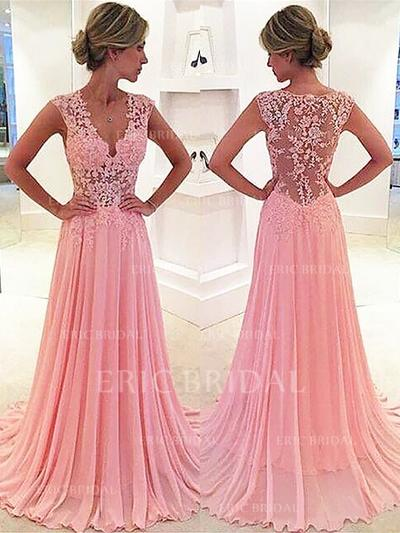 A-Line/Princess Sweep Train Prom Dresses V-neck Chiffon Sleeveless (018145851)
