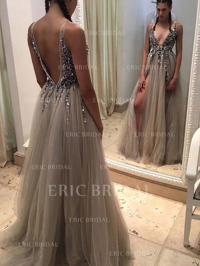 A-Line/Princess Sweep Train Prom Dresses V-neck Tulle Sleeveless (018145870)