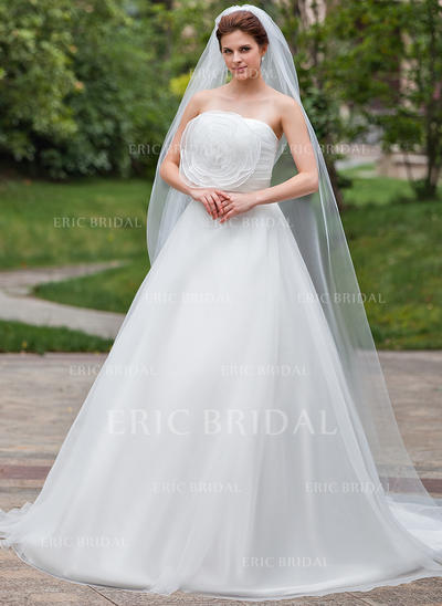 Chapel Bridal Veils Tulle One-tier Drop Veil With Pencil Edge Wedding Veils (006151019)