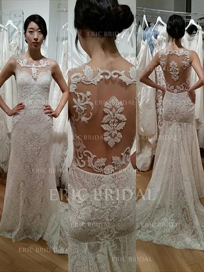 Simple Scoop Sheath/Column Wedding Dresses Sweep Train Lace Sleeveless (002148027)