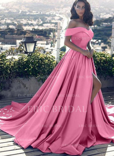 A-Line/Princess Satin Prom Dresses Ruffle Off-the-Shoulder Sleeveless Court Train (018148400)