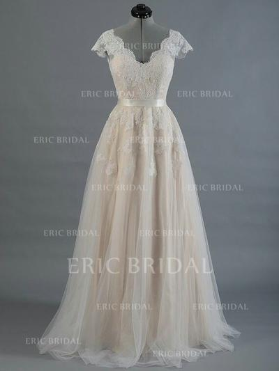 A-Line/Princess Tulle Sleeveless V-neck Sweep Train Wedding Dresses (002147931)