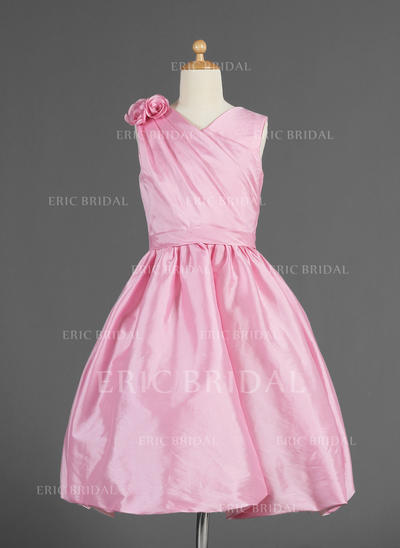 Newest V-neck A-Line/Princess Flower Girl Dresses Knee-length Taffeta Sleeveless (010014618)