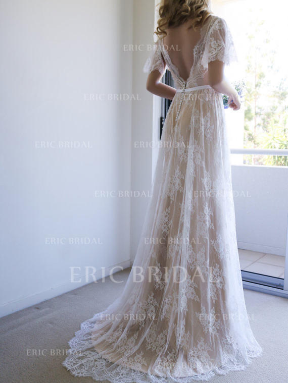 A Line Princess Tulle Lace Short Sleeves V Neck Sweep Train
