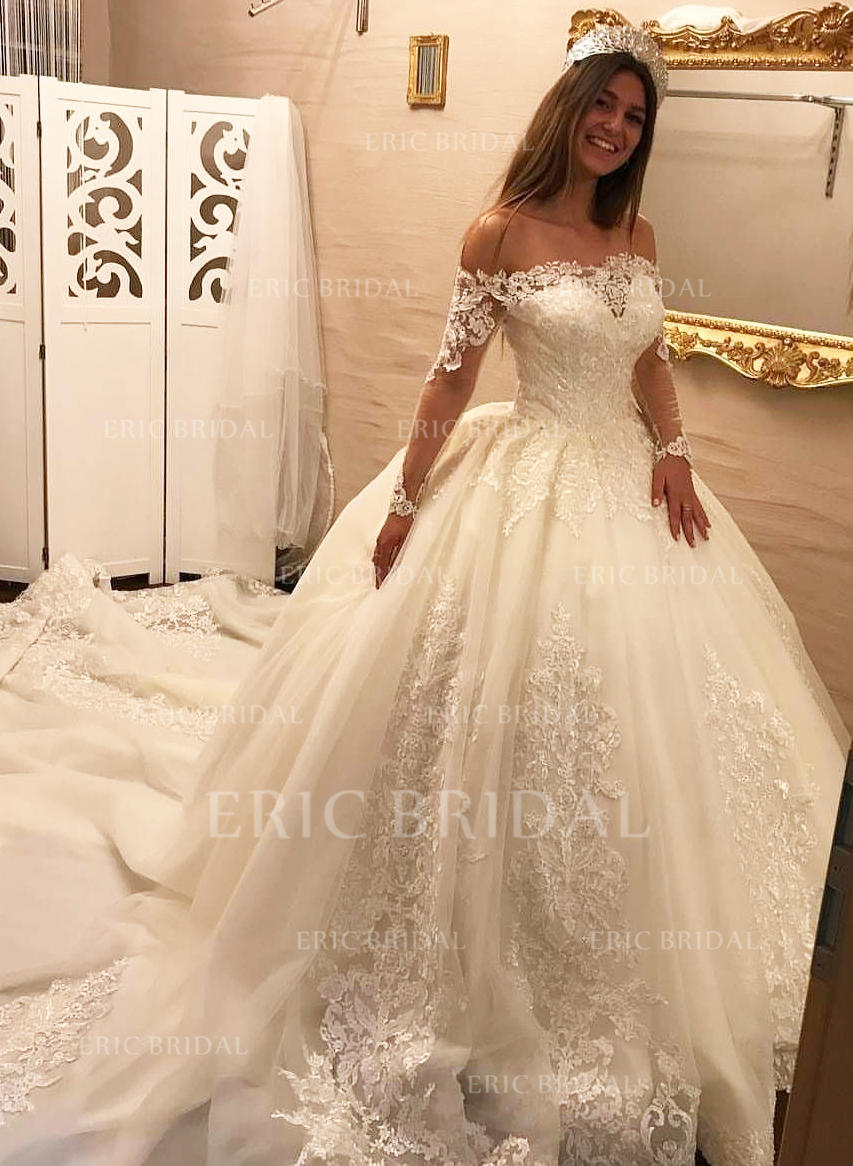 8f86e48482b Ball-Gown Tulle Lace Long Sleeves Off-The-Shoulder Royal Train Wedding  Dresses. Loading zoom