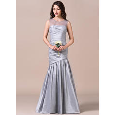 Trumpet/Mermaid Taffeta Bridesmaid Dresses Ruffle Scoop Neck Sleeveless Floor-Length