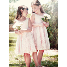 2018 New Scoop Neck A-Line/Princess Flower Girl Dresses Knee-length Lace Sleeveless (010146756)