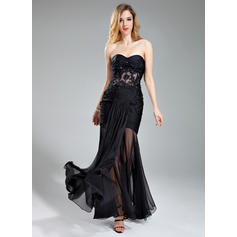Trumpet/Mermaid Sweetheart Floor-Length Evening Dresses With Ruffle Beading Appliques Lace (017019395)