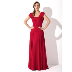 A-Line/Princess Chiffon Sleeveless Square Neckline Floor-Length Zipper Up Mother of the Bride Dresses (008006086)