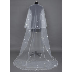 Cathedral Bridal Veils Tulle One-tier Drop Veil With Scalloped Edge Wedding Veils